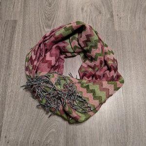 Accessories - Pink & Green Chevron Pashmina Wrap Scarf